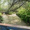 Water flows under the causeway