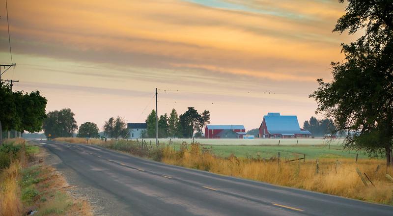 Oregon Farmhouse in morning light