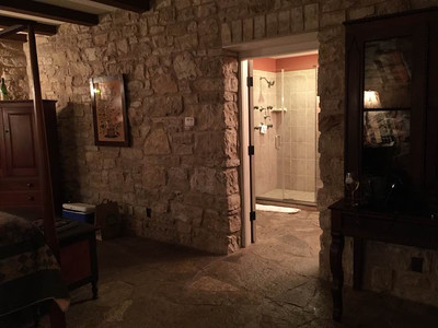 HermannHof Inn in Hermann, Missouri Brahms Suite in Berger Grass Cottage - Bathroom Entry Jay & Karisa's Engagement - 02/22/2015