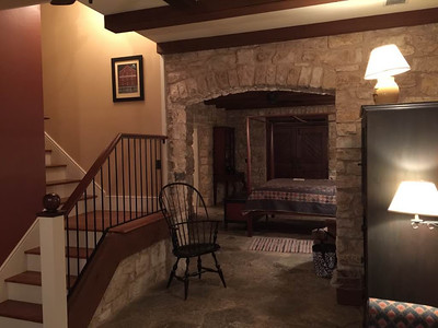 HermannHof Inn in Hermann, Missouri Brahms Suite in Berger Grass Cottage - Living Room Jay & Karisa's Engagement - 02/22/2015