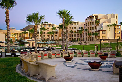 View of the outdoor fire pits, pool and resort.