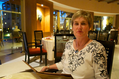 Donna at the poolside restaurant