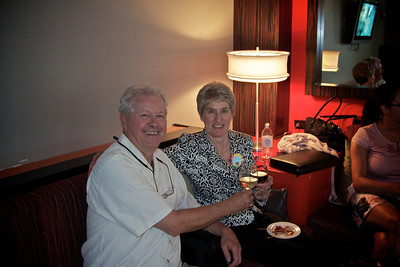 After hours party at Magnolia Hotel. First toast as a retired couple.