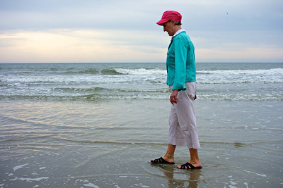 Donna puts her toes in the Atlantic ocean, on Hilton Head Island