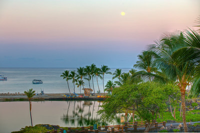 The Big Island, Hawaii. We stayed at the Marriott at Waikoloa Beach. Full Moon setting, Waikoloa Beach.