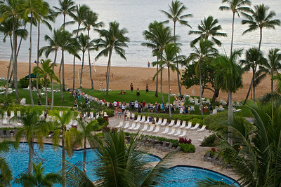 View from our balcony at the Marriott Resort on Kalapaki Bay in Lihu'e.