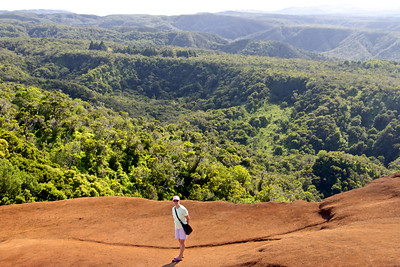 In Waimea Canyon, view of Kalalau valley, 4500 feet down to the ocean.