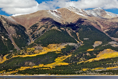 Mount Elbert (14,433 ft) with Twin lakes in the foreground, all the yellow is Aspen Trees