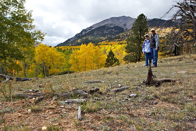 At the Aspen meadow at the base of Mount Shavano, this is our destination after a five mile hike at 9,000 ft.