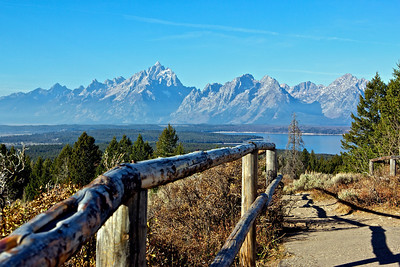 Taken from Signal Mountain(7,593 ft), on this mountain in the park you can see for miles. The Tetons with Jackson Lake in foreground.