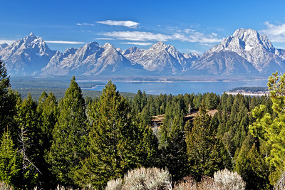 Taken from the top of Signal Mountain. The Teton range with Jackson Lake in the foreground.