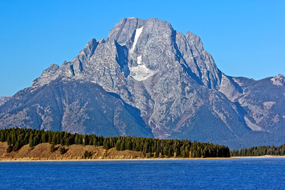 Taken at Jackson Lake dam. Jackson Lake is a huge reservoir in the park at the base of the Tetons. Mount Moran and Glacier fields.