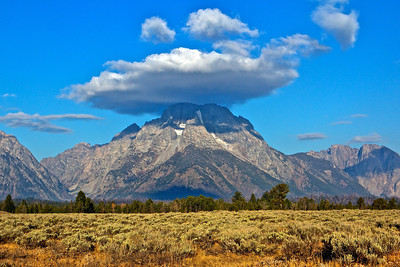 Mount Moran with a cloud hat.