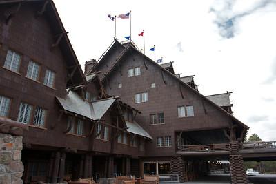 Old Faithful Inn at the Old Faithful Geyser.