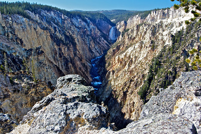 The Grand Canyon of Yellowstone, Lower Falls in the distance, Lower Falls is 308 ft high.