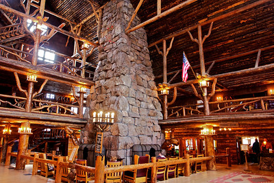 Inside Old Faithful Inn.