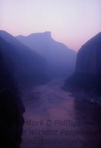 Qutang Gorge Sunrise over the Yangtze River outside Fengjie, China, October 1995