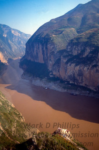 Qutang Gorge and the Yangtze River outside Fengjie, China, in October 1995 before the Three Gorges Dam flooded the area.