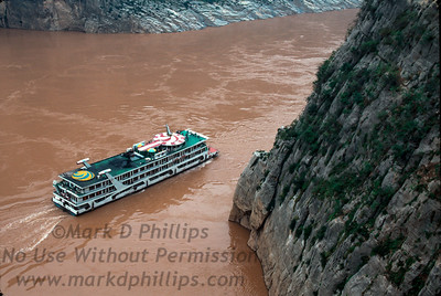 A cruise ship in Qutang Gorge on the Yangtze River near Fengjie, China, in October 1995.