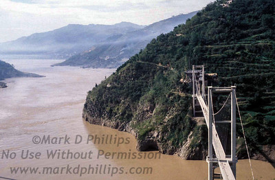 Bridge in Qutang Gorge near Fengjie, China during October 1995 over the Yangtze River
