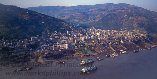 The city of Fengjie, China, on October 28, 1995, before the Three Gorges Dam raised the Yangtze River and caused the moving of the city.