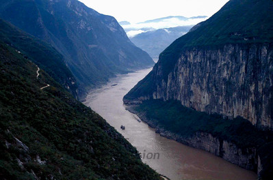Qutang Gorge near Fengjie, China, during October 1995 for Jay Cochrane's skywalk over the Yangtze River