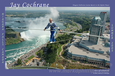 """Jay Cochrane performs the  """"Skylon Tower Skywalk"""" which  began atop the 32-story (364 feet height) Niagara Fallsview Casino, traversing a distance of 1,250 feet, and finished atop the Skylon Tower at a height of 520 feet. Jay's performance was astounding, set to music as he talked to the crowd below, giving the spectators a first-hand experience of what it is like to be on the wire. Jay Cochrane completed the longest and highest skywalk ever performed outside of China."""