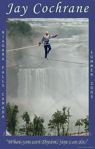 Jay Cochrane skywalks over Niagara Falls from the Casino Niagara to the Skylon Tower