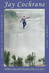 Jay Cochrane skywalks in Niagara Falls, Canada 2005. Jay skywalked a distance of 650 feet between the Niagara Fallsview Casino and the Niagara Fallsview Hilton Hotel, 400 feet (122m) above the ground,