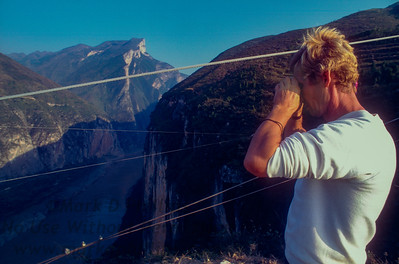 Jay Cochrane surveys the walk wire over Qutang Gorge the day before the Great China Skywalk in 1995.