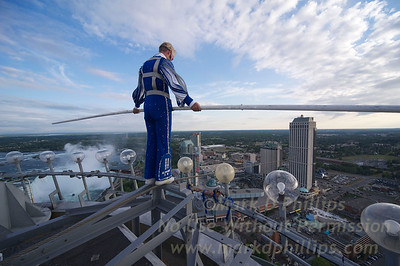 Jay Cochrane Skywalk2012 on July 20, 2012 from the Skylon Tower to the Hilton Fallsview Hotel, 1300 feet across in Niagara Falls, Canada atop the Skylon Tower