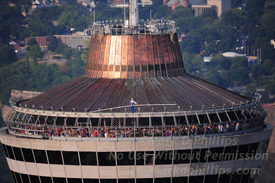 Jay Cochrane Skywalk2012 first day on July 6, 2012 from the Skylon Tower to the Hilton Fallsview Hotel, 1300 feet across in Niagara Falls, Canada.
