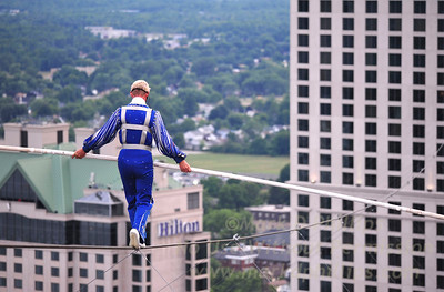 Jay Cochrane Skywalk2012 second day on July 7, 2012 from the Skylon Tower to the Hilton Fallsview Hotel, 1300 feet across in Niagara Falls, Canada.