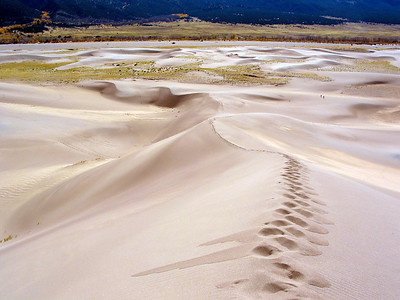 Great Sand Dunes National park, near Alamosa Colorado, my footprints, 2 people are walking middle right