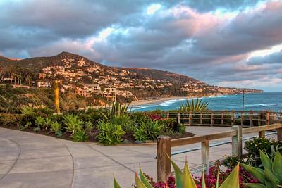 Sunset Laguna Beach, walking path in foreground