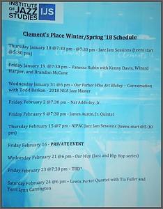 2018 Clements Place Jazz Evnts Schedule  2