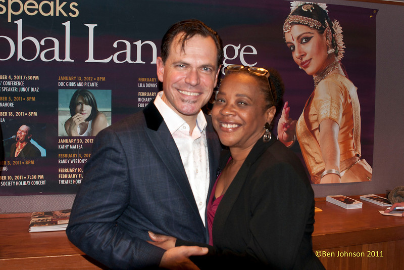 Helen Haynes Director of Cultural Affairs at Montgomery County Community College and Kurt Elling at Kurt Elling's performance at The Montgomery County Community College in Blue Bell, Pennsylvania on December 3, 2011