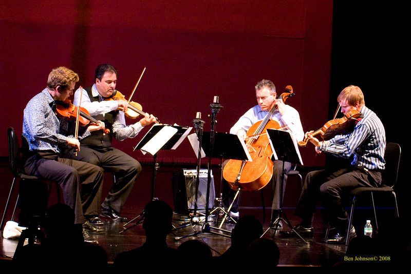 Jeremy Kittel, (viola),  David Balakrishnan (violin, baritone violin),  Mark Summer (cello), Mads Tolling (violin)  - The Turtle Island String Quartet performing John Coltrane's music including 'A Love Supreme' at the Montgomery Community College Science Theater, November 8, 2008
