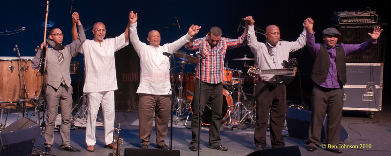 """Hugh Masekela Band Photo - Performing at TheZellerbach Theater - The Annenburg Center for The Arts on  The University of Pennsylvania Campus in Philadelphia on October 8, 2010.<br /> <br /> FRANCIS MANNEH FUSTER (PERCUSSION). ABEDNIGO """"FANA"""" ZULU (BASS), RANDALL SKIPPERS (KEYBOARDS), LEE-ROY SAULS (DRUMS),  CAMERON JOHN WARD (GUITAR"""