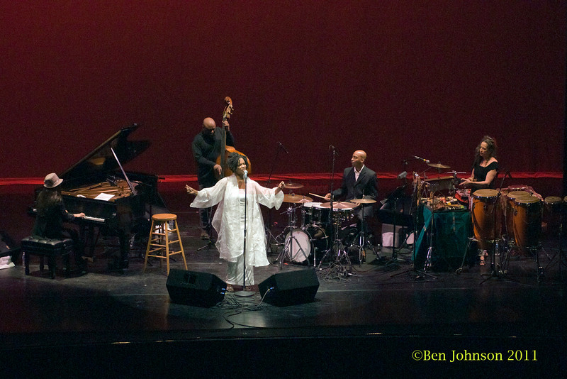 Nnena Freelon Quintet photos - performing at The Zellerbach Theater University of Pennsylvania Annenburg Center for the Arts April 1, 2011 with Miki Hayama, piano; Wayne Batchelor, bass; Adonis Rose, drums; and Beverly Bostford, percussion.