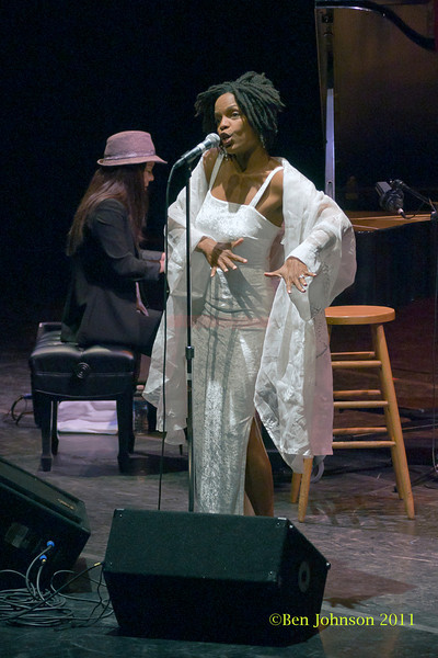 Miki Hayama and Nnena Freelon photos - performing at The Zellerbach Theater University of Pennsylvania Annenburg Center for the Arts April 1, 2011 with Miki Hayama, piano; Wayne Batchelor, bass; Adonis Rose, drums; and Beverly Bostford, percussion.