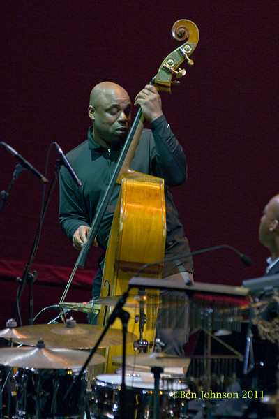 Wayne Batchelor photo performing with Nnena Freelon at The Zellerbach Theater University of Pennsylvania Annenburg Center for the Arts April 1, 2011 with Miki Hayama, piano; Wayne Batchelor, bass; Adonis Rose, drums; and Beverly Bostford, percussion.