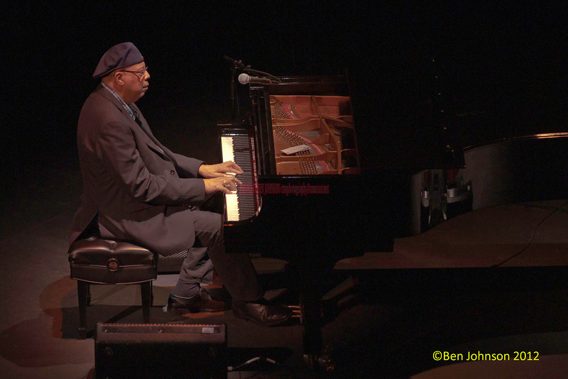 Pianist and composer Chucho Valdes Photo -  and the Latin Jazz Messengers in concert at The Merriam Theater in Philadelphia Pa, on January 26, 2011  featuring Chucho Valdés (piano), Juan Carlos Rojas Castro (drums), Lázaro Rivero Alarcón (bass): Yaroldy Abreu Robles (percussion); Carlos Manuel Miyares Hernandez (tenor saxophone), Reinaldo Melián Álvarez (trumpet), Dreiser Durruthy Bambolé  as voice leader and drums bata