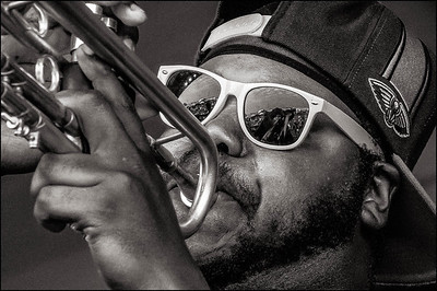 Trumpet player for Young Pinstripe Brass Band