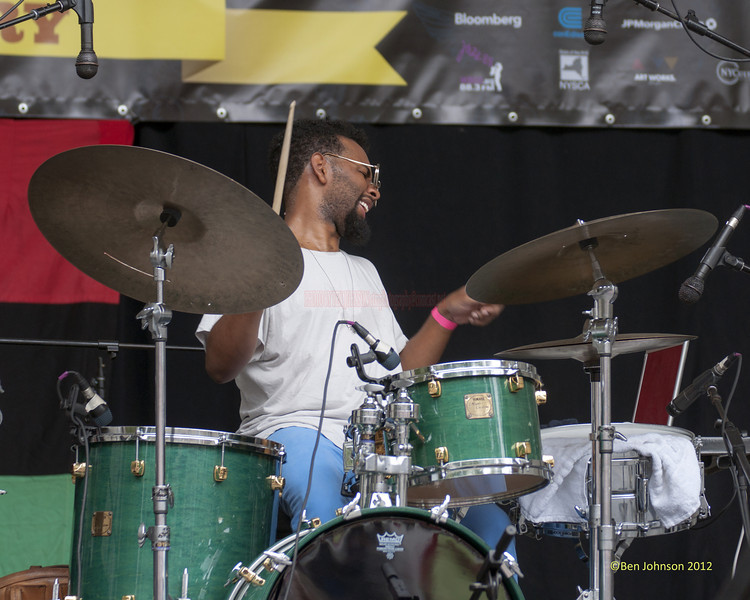 Jamire Williams - perfoming at The 2012 Charlie Parker Festival at Marcus Garvey Park, New York City, August 25, 2012