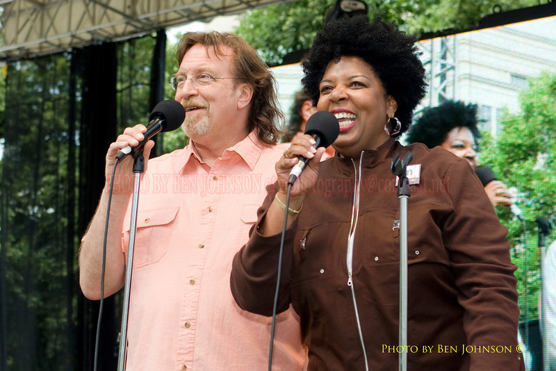 John Rago & Tina Betz welcoming the crowd at The 21st Annual Clifford Brown Jazz Festival at Rodney Square in Wilmington, Delaware, June 15 -21, 2009