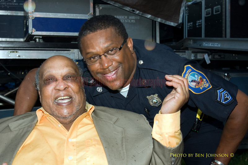 Les McCann Photo with Wilmington Police Officer Anthony Easterling backstage at The 21st Annual Clifford Brown Jazz Festival at Rodney Square in Wilmington, Delaware, June 15 -21, 2009
