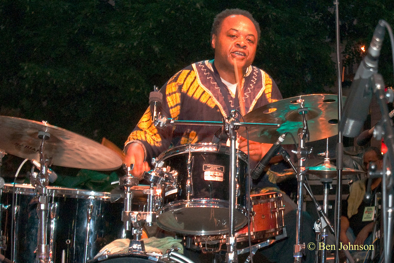 Jeff Tain Watts  photo - with Jerry Gonzalez & The Fort Apache Band -performing at The 22nd Annual Clifford Brown Jazz Festival in Rodney Square, Wilmington, Delaware, held June 15-20,