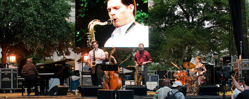 Junior Mance Sextet - Ryan Anselmi, Tenor -Hide' Tanaka, Bass - Kim Gary, Drums, Andrew Hadro, Baritone, performing at The 2011 Dupont Clifford Brown Jazz Festival held in Rodney Square in Downtown Wilmington, Delaware.
