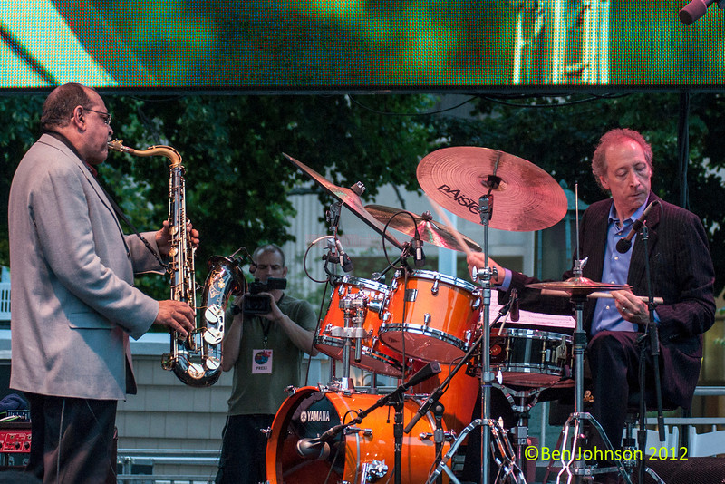 Ernie Watts and Bob Leatherbarrow performing as part of the  2012 Clifford Brown Jazz Festival in Rodney Square in Wilmington Delaware, June 18-23, 2012.